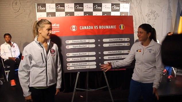 Bouchard từ chối bắt tay xã giao với Dulgheru trước trận đấu tại Fed Cup.