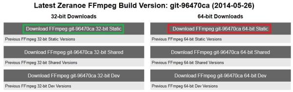 Chọn phiên bản FFmpeg phù hợp với hệ điều hành đang dùng