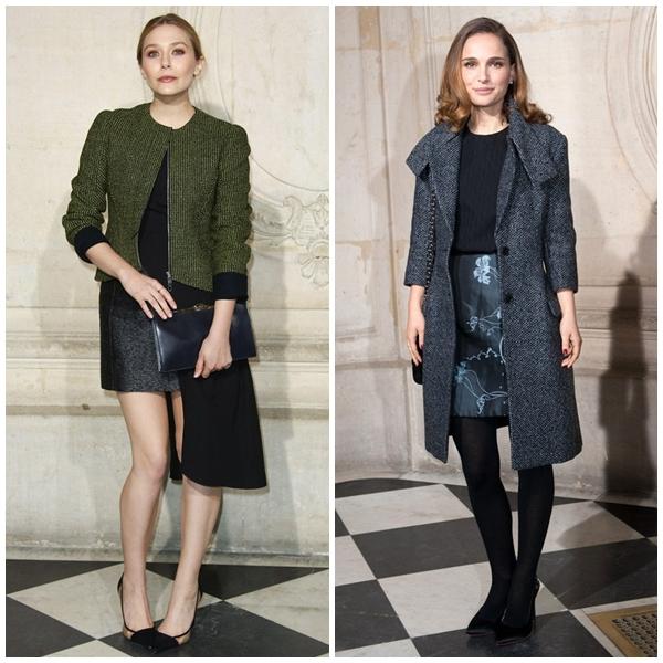 Hai ngôi sao HollywoodElizabeth Olsen vàNatalie Portman tại show diễn của Dior. Cả hai người đep đều kín đáo, thanh lịch.