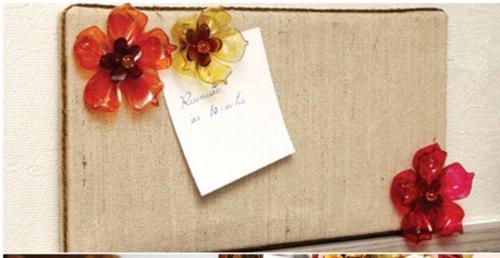 Cắt vỏ chai thành mảnh nhỏ, bạn còn làm được thành hình những bông hoa trang trí nhỏ xinh ở đồ đạc khác.