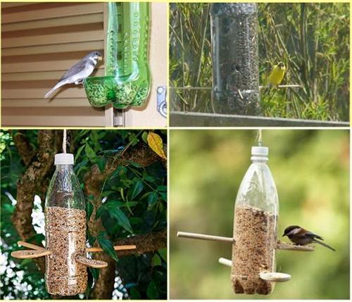 Tận dụng vỏ chai làm thành nơi chứa thức ăn cho các chú chim.