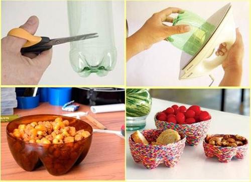 Tô điểm cho phần dưới của vỏ chai để làm thành rổ đựng bánh kẹo, hoa quả.