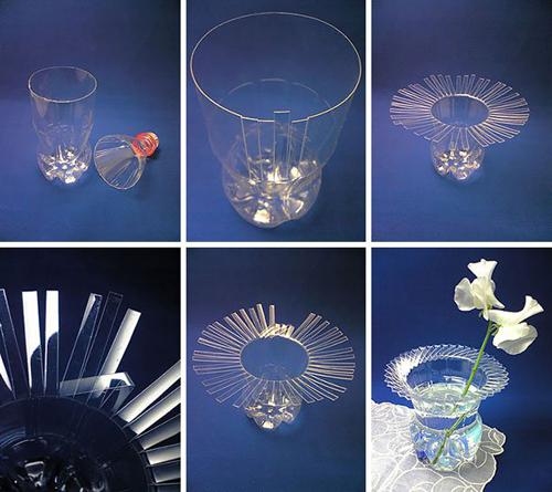 Khéo tay hô biến vỏ chai nhựa trong thành một lọ hoa mới lạ.