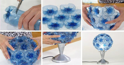 Cây đèn hình hoa điệu đà làm từ vỏ chai.