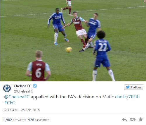 Chelsea thể hiện sự kinh ngạc với quyết định của FA trên trang Twitter