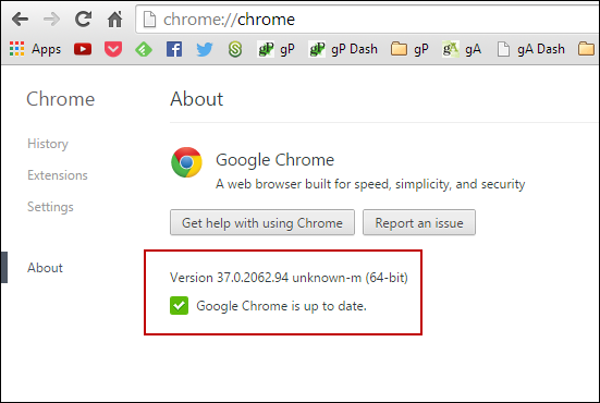 Phiên bản Google Chrome 64-bit sẽ hiển thị (64-bit)