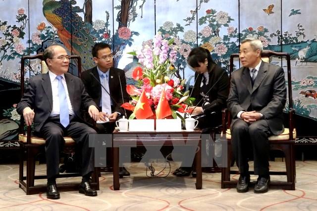 Quang cảnh buổi tiếp của Chủ tịch Quốc hội Nguyễn Sinh Hùng. (Ảnh: Nhan Sáng/TTXVN)