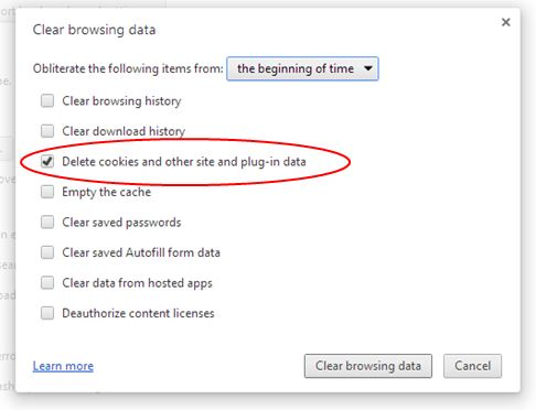 Chọn Delete cookies and other site and plug-in data và nhấn vào Clear Browsing Data để xóa Cookies