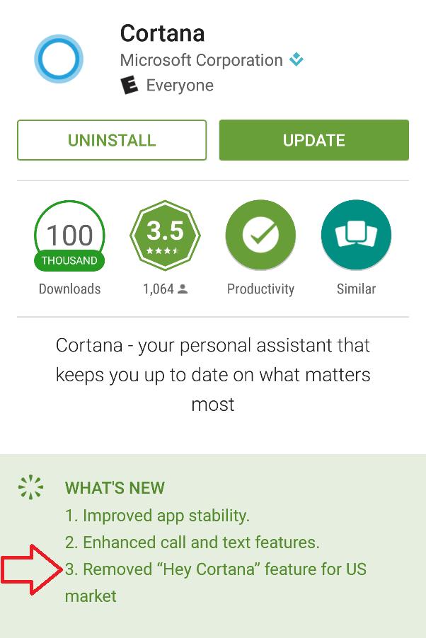 Lệnh kích hoạt Hey Cortana đã bị loại bỏ ở bản cập nhật trợ lý ảo trên Android