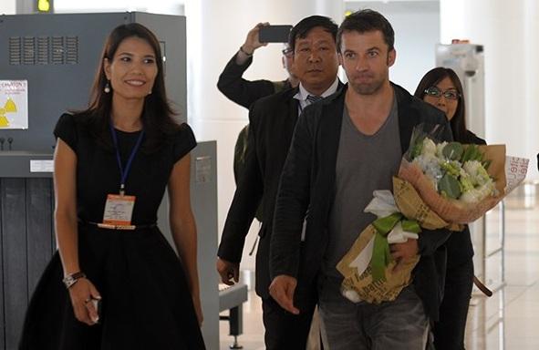 Cựu danh thủ người Italy Del Piero cũng xuất hiện tại Hà Nội chiều nay (12/6). (Ảnh: Infonet).