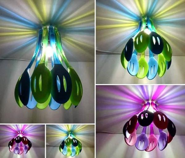 Đèn màu rực rỡ được sáng tạo từ thìa.