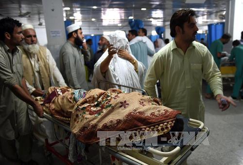 Nhân viên cứu hộ đưa nạn nhân đến bệnh viện