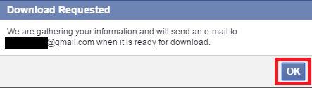 Chọn OK để xác nhận email nhận thông báo