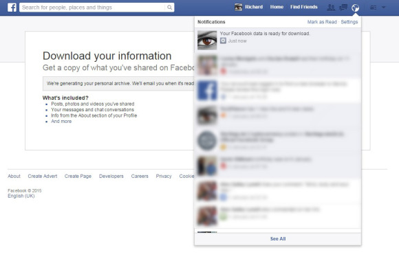 Facebook cũng sẽ thông báo khi quá trình sao lưu hoàn tất