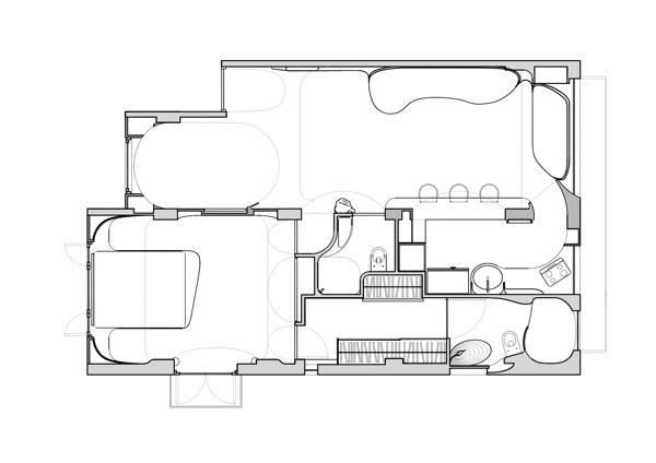 Bản thiết kế của ngôi nhà đặc biệt có nhiều đường cong này.
