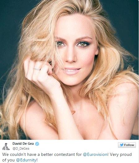 De Gea khoe bạn gái được thi Eurovision Song Contest trên Twitter.