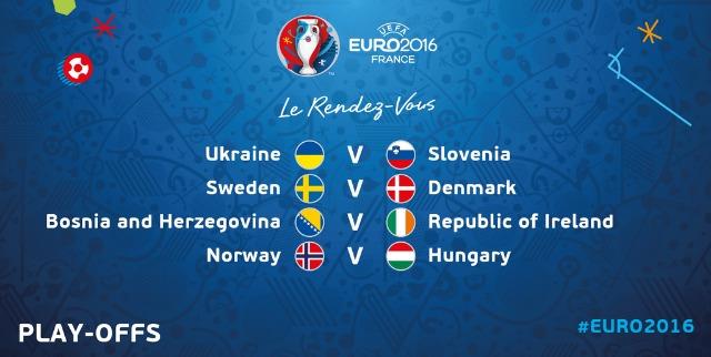 Vòng Play-off Euro 2016 với trận cầu tâm điểm giữa Thụy Điển và Đan Mạch