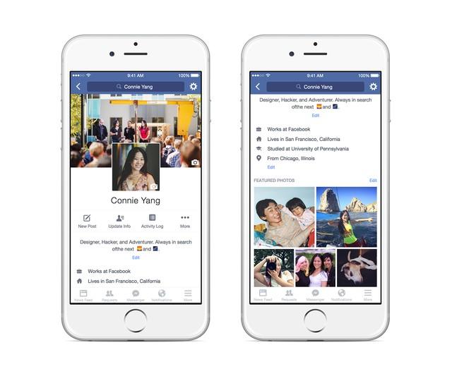Giao diện người dùng của ứng dụng Facebook trên di dộng thay đổi với ảnh đại diện nằm ở chính giữa