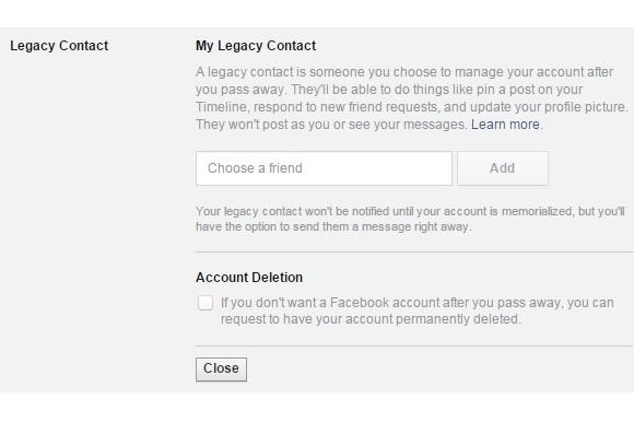 Tính năng chọn người thừa kế tài khoản Facebook