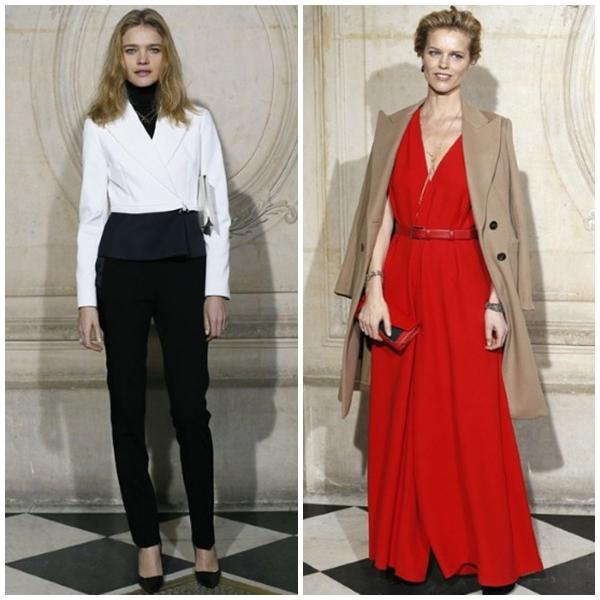 Người mẫu Natalia Vodianova phong cách với suit, và diễn viên Natalia Vodianova nổi bật với chiếc đầm đỏ tại show diễn của Dior.