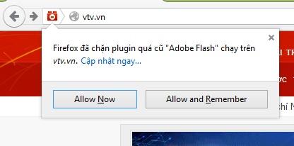 Người dùng có thể chọn Allow để kích hoạt Flash trên Firefox