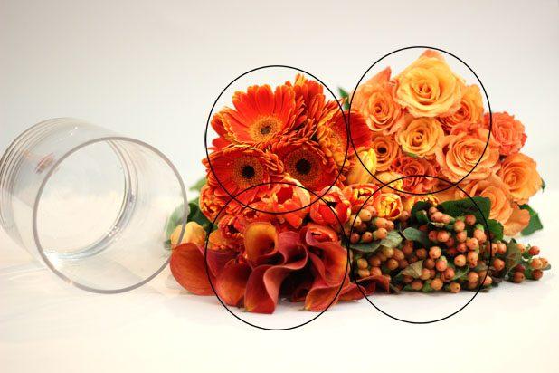 Bí quyết để xem phần miệng chiếc bình hoa của bạn và mua đủ số lượng hoa sao cho khi gom lại có diện tích gấp 4 lần diện tích miệng bình.