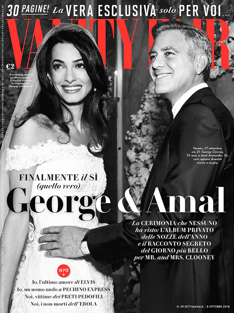 Ảnh cưới của vợ chồng George Clooney trên tạp chí Vanity Fair.