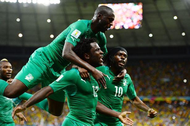 Bộ ba Yaya Toure, Bony và Gervinho từng sát cánh thi đấu ở World Cup 2014.