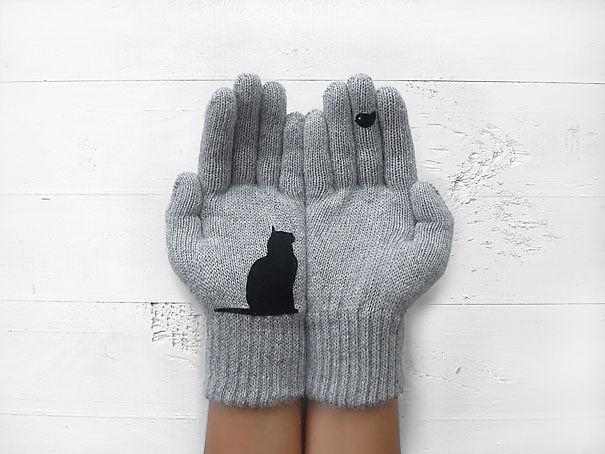 Giữ ấm tay bằng đôi găng hình mèo cực chất