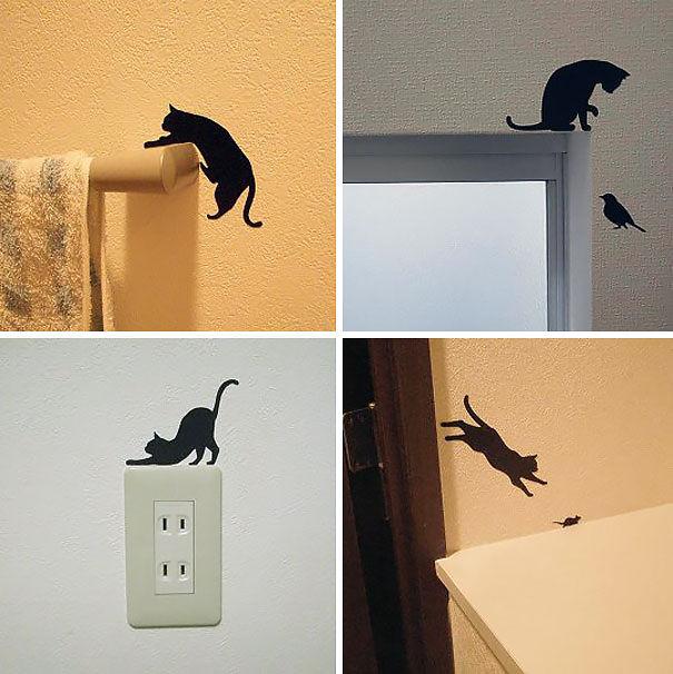 Giấy dán tường hình mèo sinh động