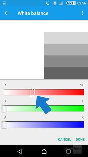Điều chỉnh hiển thị màu trong thiết lập cân bằng trắng