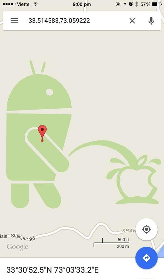 Hình ảnh gây sốc xuất hiện khi người dùng tra cứu tọa độ 33.514583,73.059222  trên Google Maps
