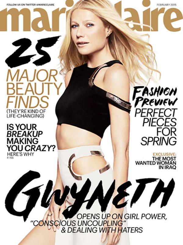Hình ảnh Gwyneth trên bìa tạp chí Marie Claire số tháng 2/2015.