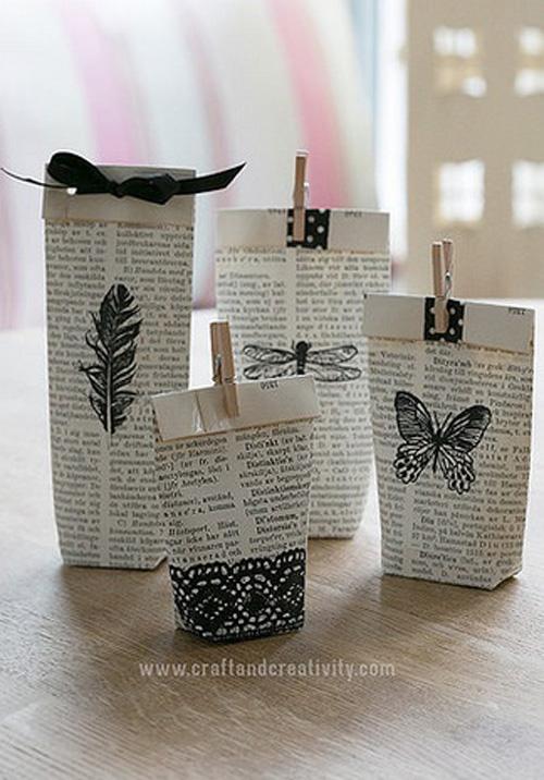 Những tờ giấy cũ này còn có tác dụng làm thành những gói quà độc đáo.