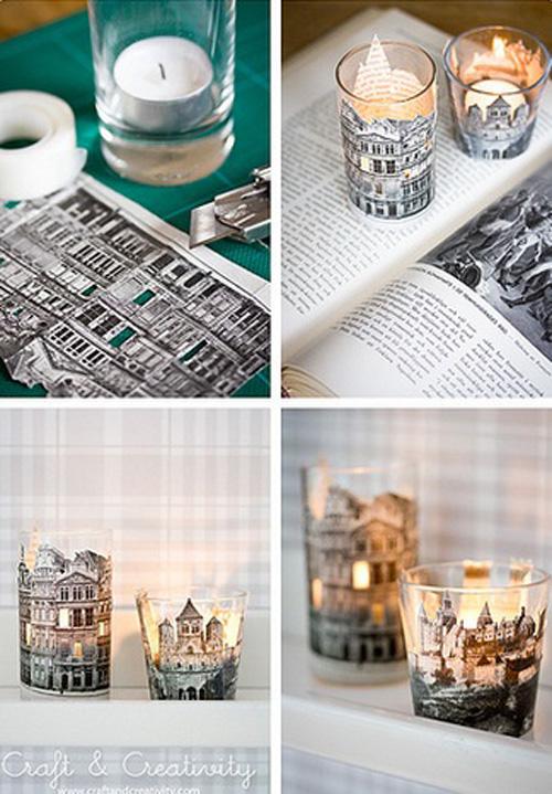 Những hình ảnh đẹp mắt trong sách, báo được cắt ra để trang trí cho cốc nến.