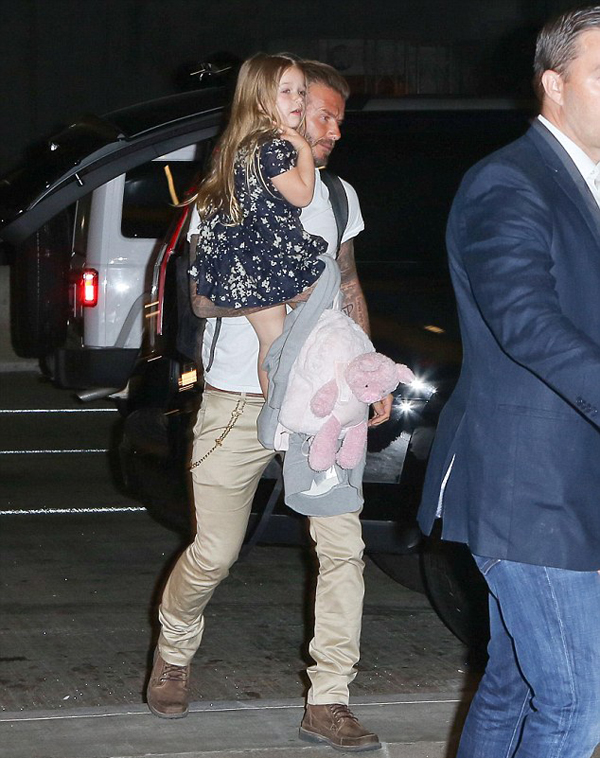 Từ xe vào sân bay, Becks chiều con gái nhỏ dù mang theo khá nhiều đồ đạc.