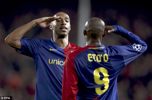 Henry và Etoo chính là những đối tác ưa thích nhất của Messi trên hàng công của Barca.