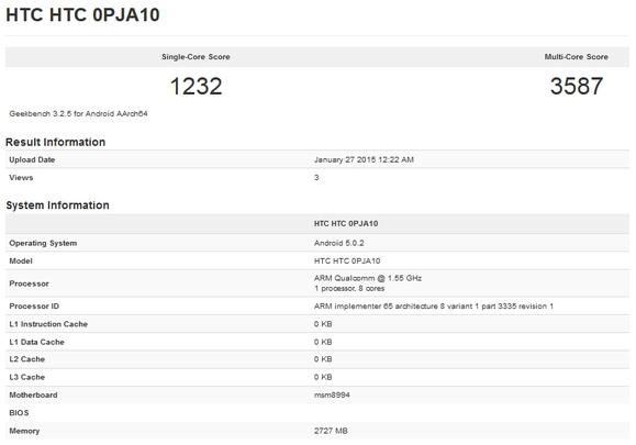 Kết quả bài kiểm tra hiệu năng bộ vi xử lý của HTC One M9