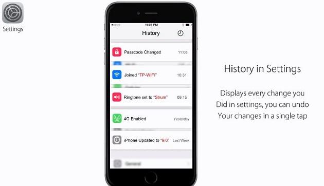 Người dùng có thể xem lịch sử cài đặt trong mục Settings