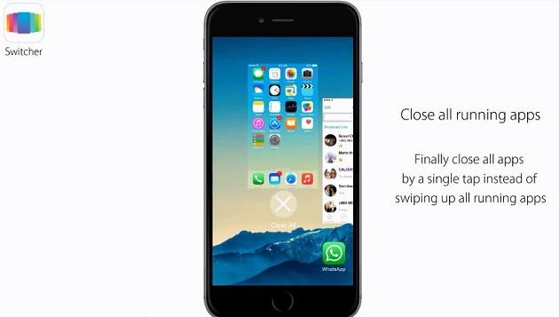 Người dùng có thể gạt màn hình chính trong cửa sổ đa nhiệm để tắt tất cả các ứng dụng chạy ngầm