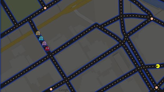 Trò chơi nổi tiếng PAC-MAN đã được tích hợp trên Google Maps