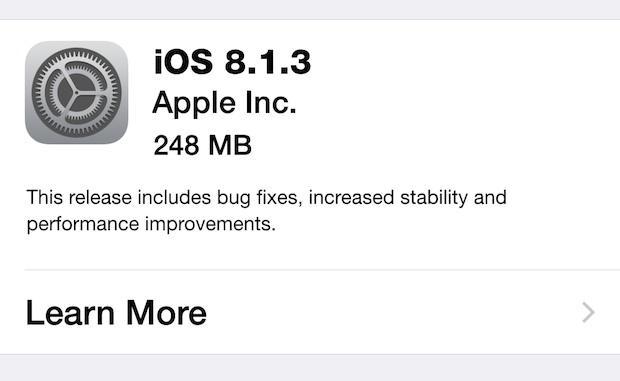 Bản cập nhật iOS 8.1.3 bao gồm bản vá các lỗi ở phiên bản trước, tăng độ tin cậy và cải thiện hiệu năng