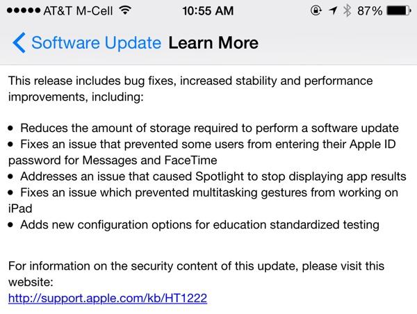 Thông tin chi tiết về bản cập nhật iOS 8.1.3