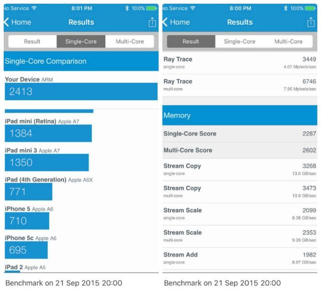 Điểm đánh giá iPhone 6S tên Geekbench 3