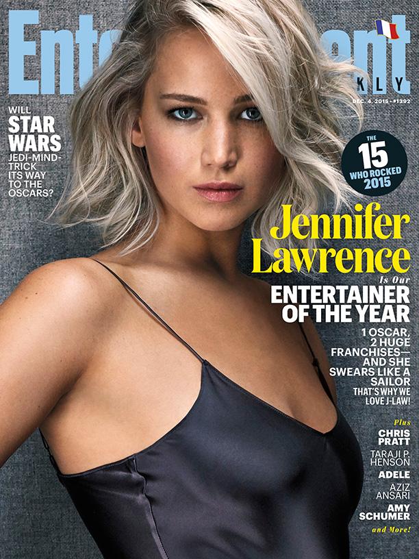 Jennifer Lawrence trên trang bìa của Entertainment Weekly tháng 12/2015.