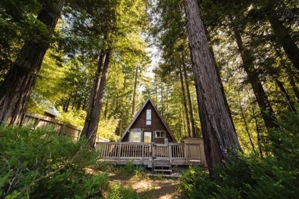 Ngôi nhà hình A nằm ở khu vực núi rừng tại California.