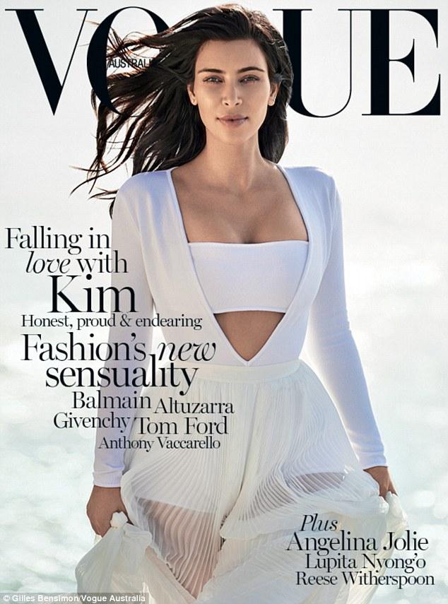 Kim Kardishian trên ảnh bìa tạp chí Vogue Australia.