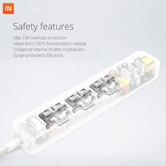 Ổ cắm đa năng của Xiaomi được tích hợp các tính năng đảm bảo an toàn