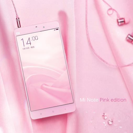 Phiên bản màu hồng của Mi Note có kiểu dáng giống với các phiên bản trước đó