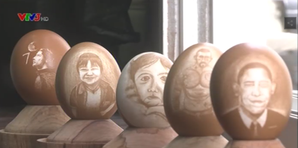 Các tác phẩm điêu khắc trên trứng của Đức Trí